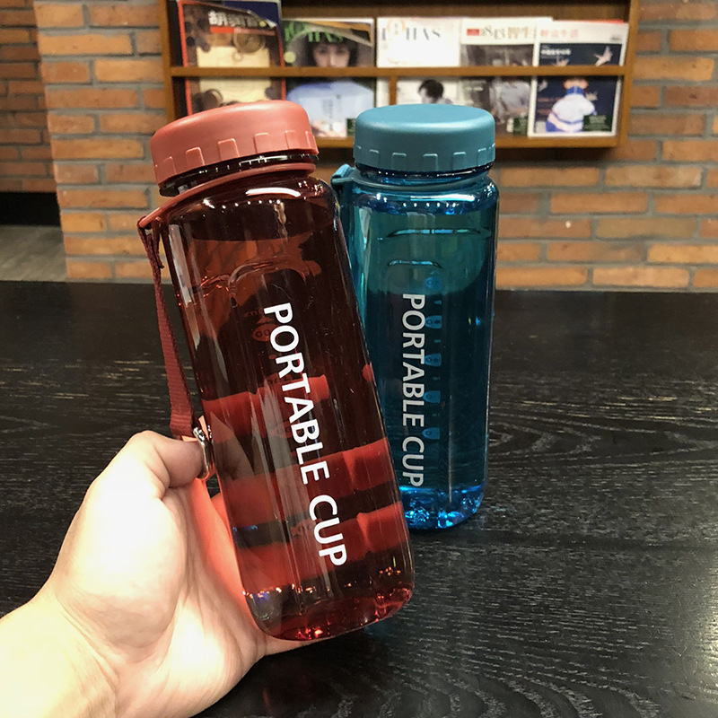 Large Capacity New Sports Plastic Water Bottles Portable Korean Version of Tea Student Water Bottles BPA Free(China)