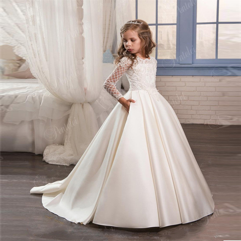 New Ivory White   Flower     Girl     Dress   Satin Lace Button Long Sleeves Birthday   Dress   Princess Pageant Gown First Communion Gown