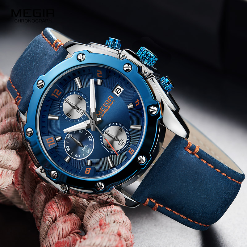 2018 Nye MEGIR Luxury Brand Quartz Watches Mænd Analog Kronograf - Dameure - Foto 4