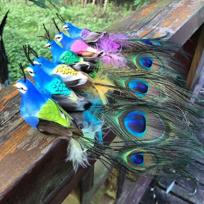Декоративные птицы из искусственного пенного пера, мини Павлин для Bpirthday, праздничные украшения для взрослых, украшение для свадебного стол...