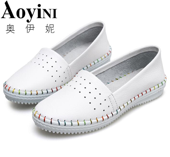 2018 Spring High Quality Women Genuine Leather Slip On Flats Handmade Fisherman Shoes Loafers Ladies Flat Slipony Sapatos Femini xiuteng 2018 spring genuine leather women candy color flats soft rubber sole ladies casual high quality beach walking shoes