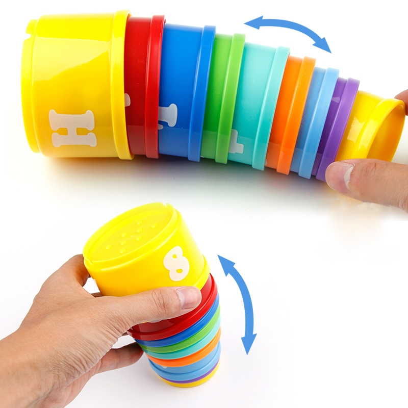 8PCS Montessori Toys Teething Development Infant Early Educational + Figures Letters Foldind Stack Cup Tower Toys Birthday Gifts
