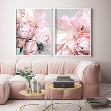 Peony Nordic Style Wall Art Canvas Poster Print Flower Painting Minimalist Scandinavian Decoration Picture Living Room Decor