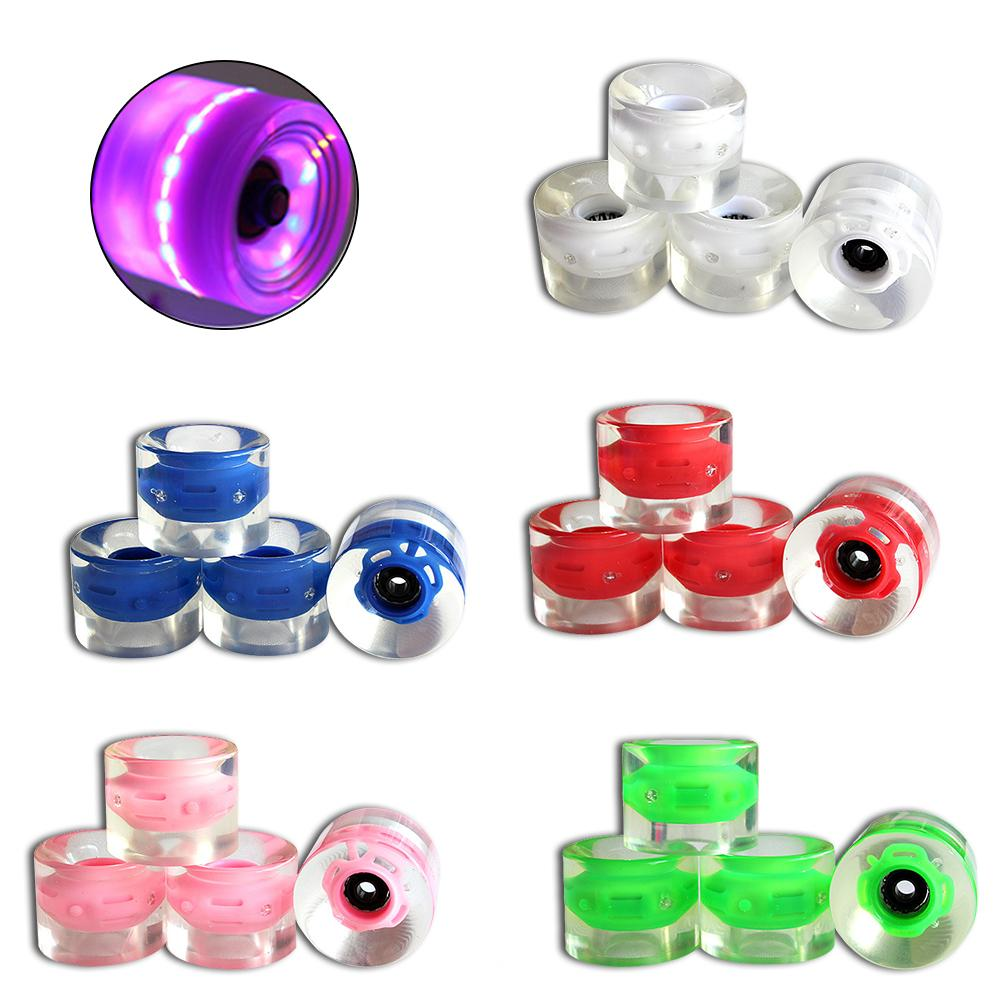 4pcs Transparent LED Light Skateboard Wheels 60 X 45 Mm Long Board City Run Wheels Durable PU Wheels Longboard Cruiser Wheels