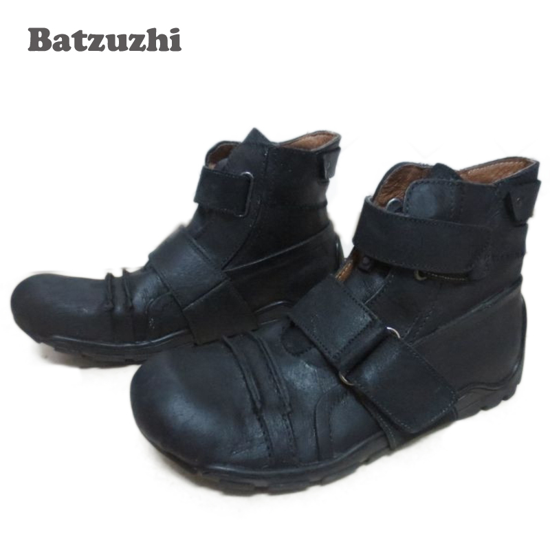 Batzuzhi New Design Super Cool Men Boots Ankle Black Genuine Leather Ankle Mens Boots, Brand Mens casual footwear Personality