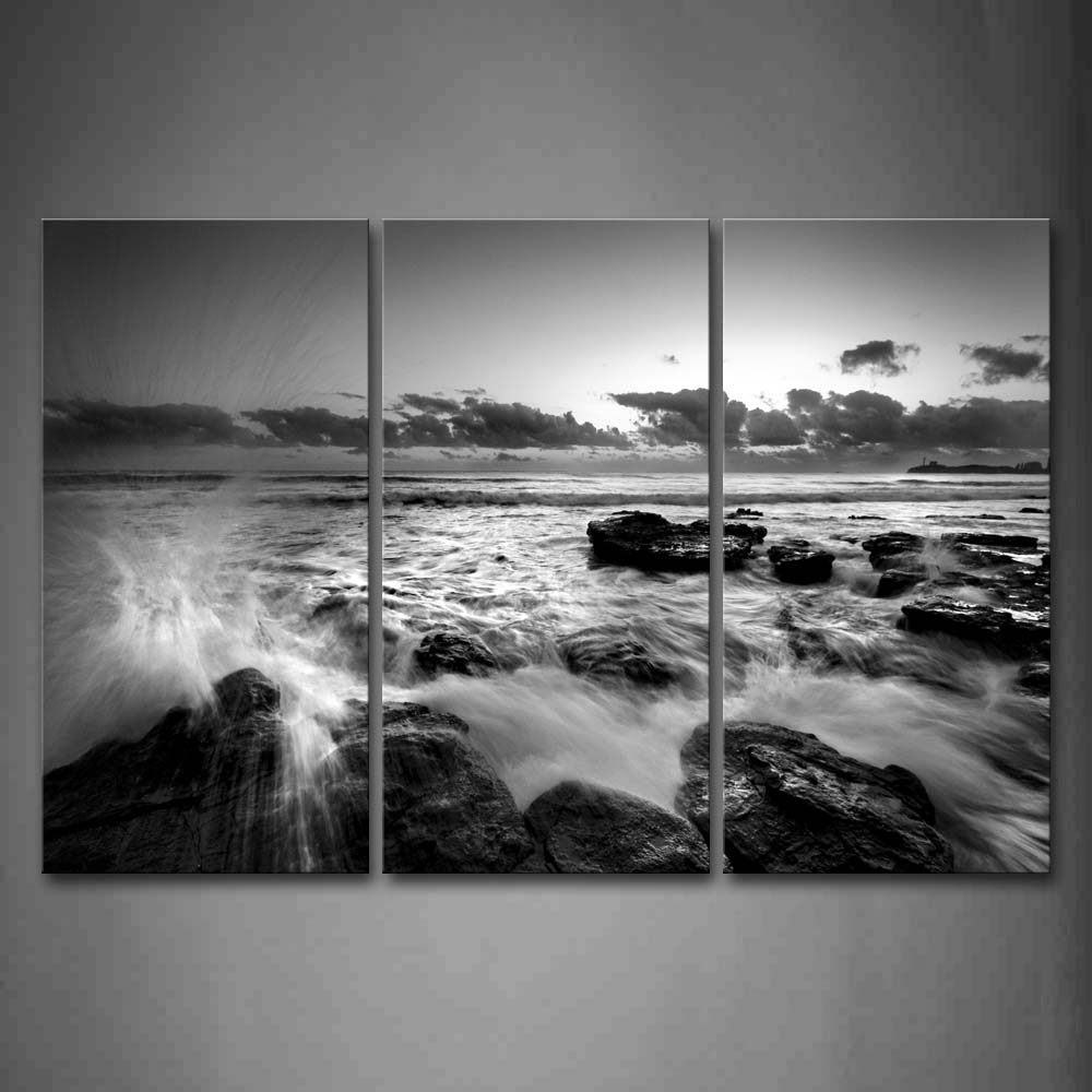 Framed Wall Art Picture Sea Wave Stone Canvas Print Seascape Modern Posters With Wooden Frame For Home Living Room DecorFramed Wall Art Picture Sea Wave Stone Canvas Print Seascape Modern Posters With Wooden Frame For Home Living Room Decor