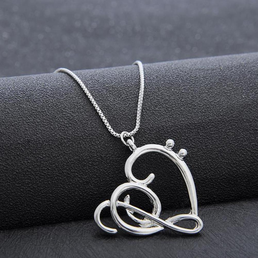 Fashion Chain Necklace Women Simple Musical Note Heart Pendant Box Jewelry Gift