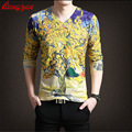Men Spring Autumn T-shirts Brand Long Sleeve Knitted Cotton 3D Print Casual Floral Tees Slim Fit Bottoming T shirts F1837