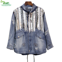 Plus size sequins denim jackets 2018 spring new fashion hole stand collar loose women's jacket and caot female outwear ER206