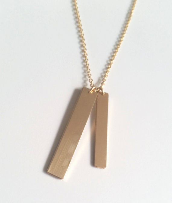 Double nameplate necklaces gold vertical bar necklace fashion double nameplate necklaces gold vertical bar necklace fashion necklaces for women 2015 pendant necklace in chain necklaces from jewelry accessories on mozeypictures Images