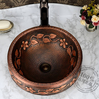 vintage handmade basin fashion Copper classical full bronze basin wash basin counter basin