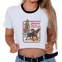 Harajuku, divertida camiseta femenina, camisetas gráficas Vintage Satán, perros, mamá, podemos mantenerlo a la moda, camiseta de manga corta, camisetas cortas para mujer