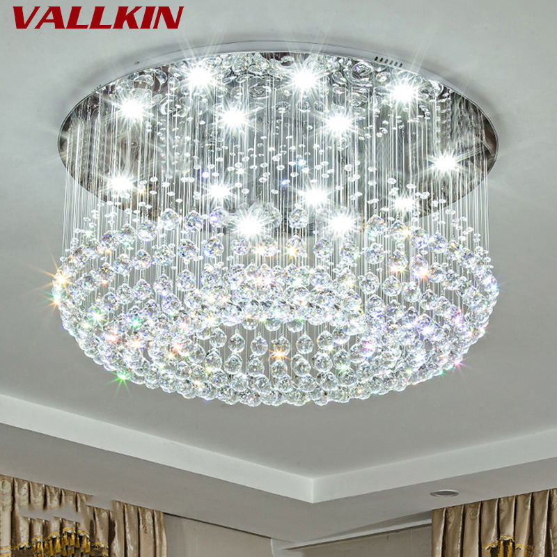 Nouveau Cristal Rond LED Plafonnier Pour Salon Intérieur Lampe Luminaria Accueil Décoration Cristalline Lumières Moderne Cristal