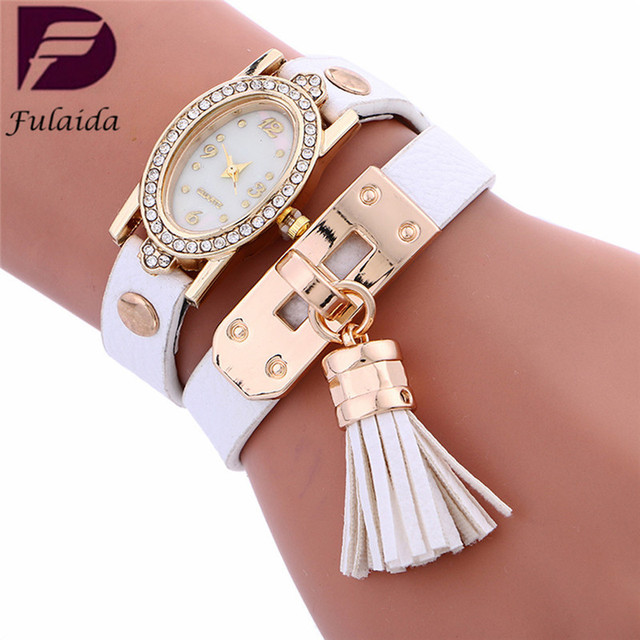 FULAIDA Top Simplicity Stylish relogio feminino Chimes Leather Bracelet Watch La