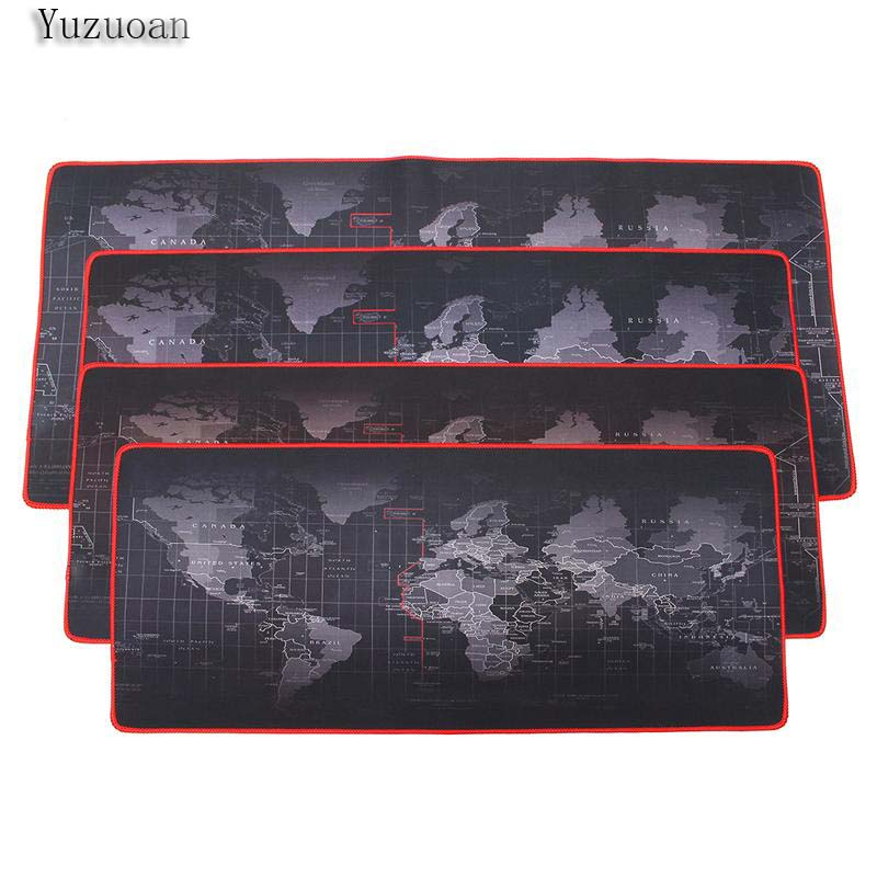 Yuzuoan Large Retro World Map With Red Lock Edge Thicken Mousepad 900x400 pad to Notbook Computer Mousepad Big Gaming Padmouse