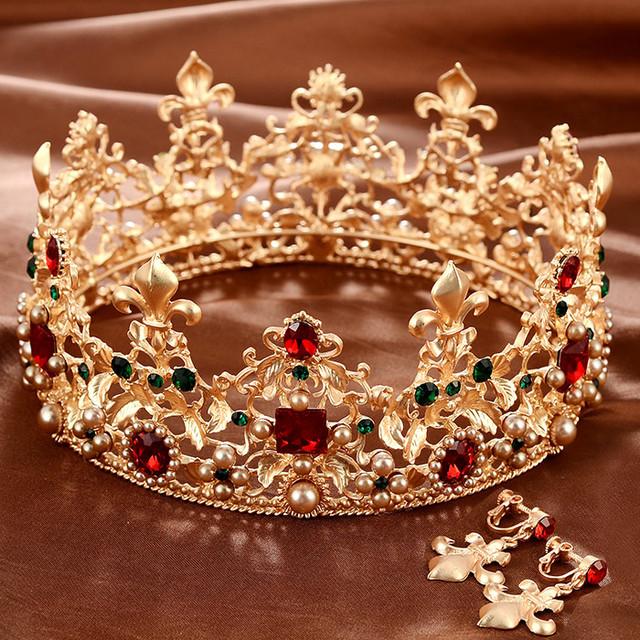 Acessório acessórios de noiva cabelo barroco Grandes acessórios de noiva se casou com coroa real do vintage