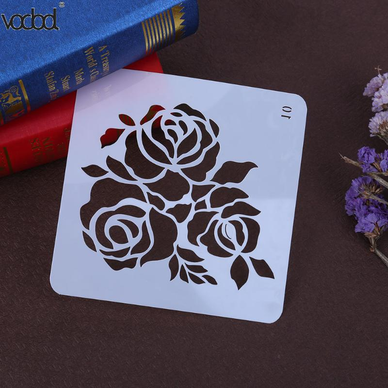 VODOOL Rose Flower DIY Craft Layering Stencils For Walls Scrapbooking Template Stamps Album Decorative Embossing Paper Crafts cutiepie kinds of 0 9 numbers transparent clear stamps for scrapbooking diy silicone seals photo album embossing folder stencils