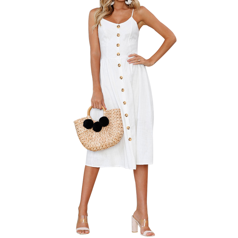 Solid Color Button Sexy Casual Summer Strap Dress Long Boho Beach Button Women Sundress Vestidos Elegant Daily Dess Female