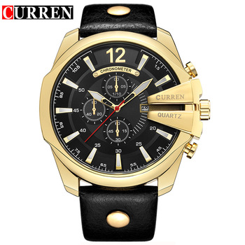 CURREN Men's Top Brand Luxury Leather Chronograph Calendar Date Display Quartz Watches