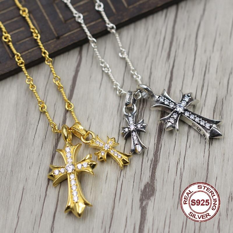 S925 стерлингового серебра Цепочки и ожерелья личности простой дикий стиль золотой крест Цепочки и ожерелья кулон классический пара стиль св...