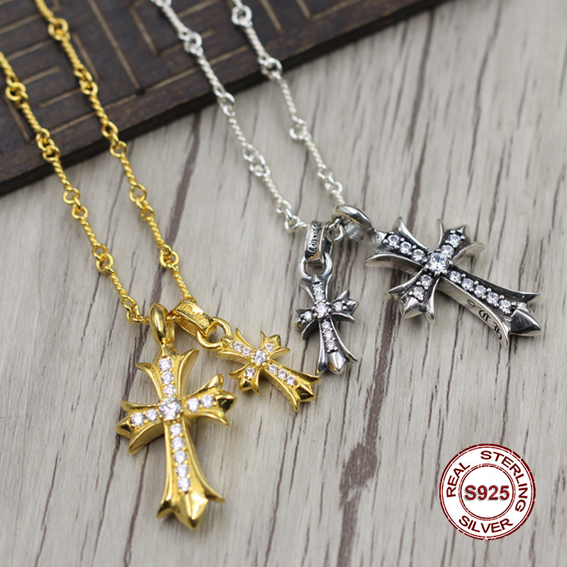 S925 Sterling Silver Necklace Personality simple wild style gold cross necklace pendant Classic couple style sweater chain Send S925 Sterling Silver Necklace Personality simple wild style gold cross necklace pendant Classic couple style sweater chain Send