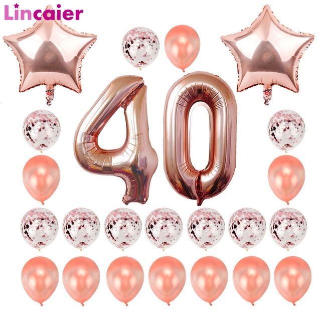 Lincaier 32 Inch 62 Cm 40th Birthday Gold Balloons Happy 40 Years Party Decorations Men Women Favors Supplies Forty