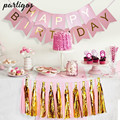 1set Happy Birthday Paper Banner+2 pack Tassel Garland Birthday Party Hanging Glitter Pastel Pink String Flag Baby Shower Decor