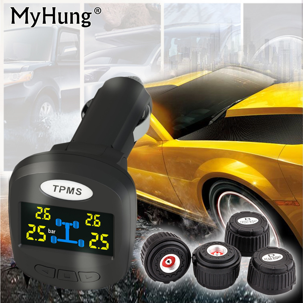 TPMS Car Tire Pressure Monitoring System Car Tire Diagnostic-tool Tire Pressure Alarm Professional Wireless Smart TPMS Auto Part tpms tp620 car tire tire pressure alarm car tire diagnostic tool support bar and psi tire pressure monitor car electronics