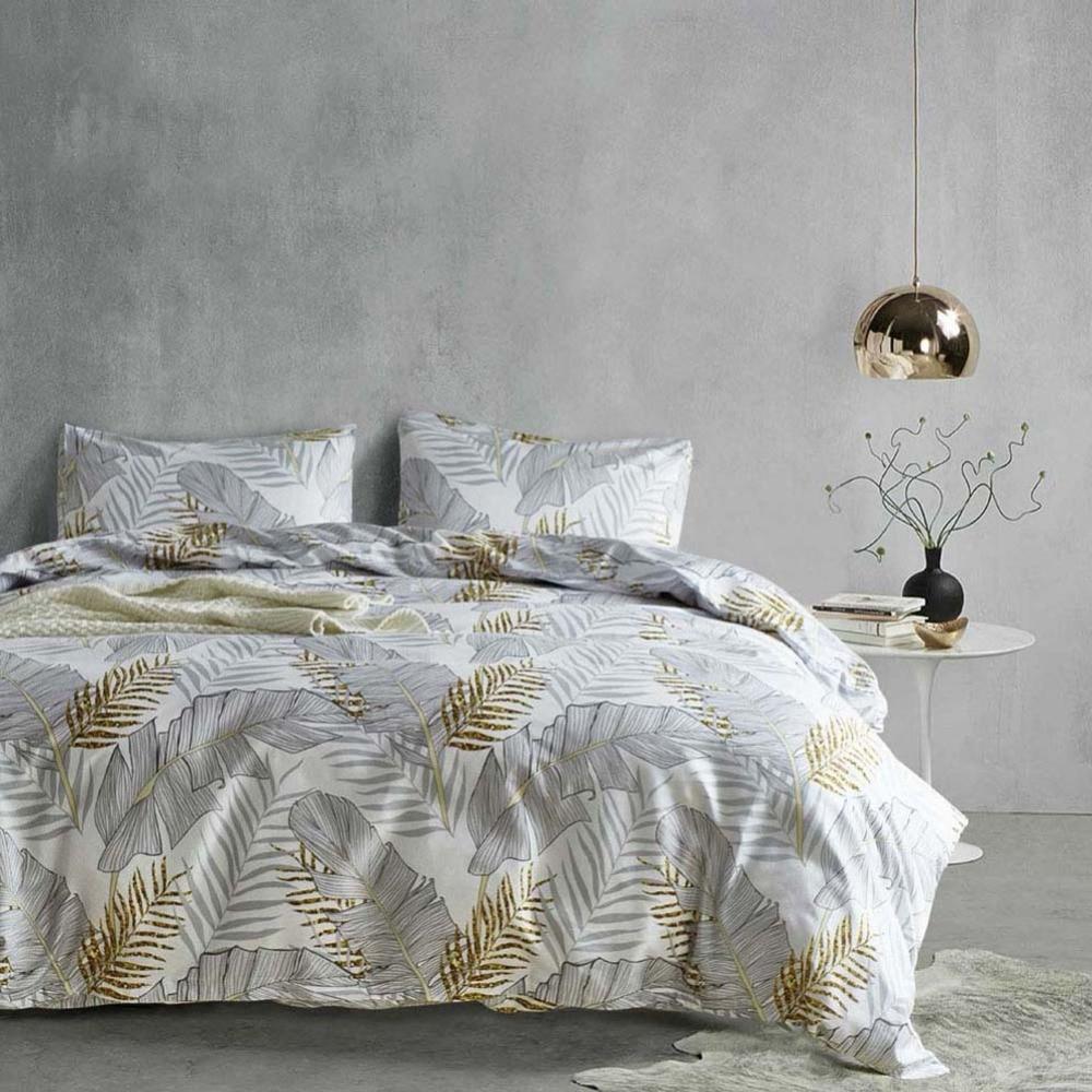 Modern Grey Palm Leaf Bedding Set Tropical Floral Botanic Print