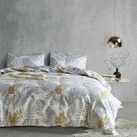 Modern Grey Palm Leaf Bedding Set Tropical Floral Botanic Print Duvet Cover Sets 3pcs Gold White Coastal Life Havana Bedclothes