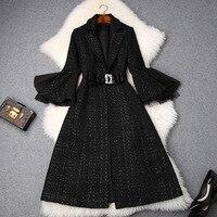 Women black gothic style flare sleeve tweed coat diamonds bow waist a line skirt coats new 2018 autumn winter