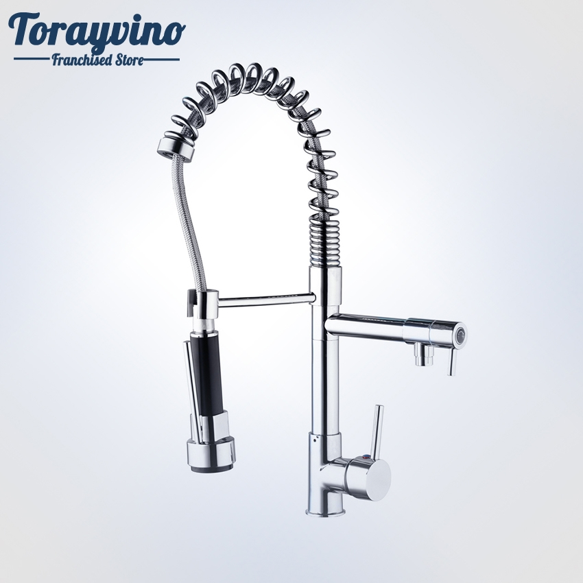 Torayvino Polished Chrome Kitchen Faucet 360 Degree Pull DOWN Single Handle Sink Mixer Hot&Cold Water Tap Kitchen Faucet Mixer chrome polished pull down spray kitchen single handle sink faucet one hole mixer tap