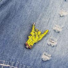 7960b64145041 1 pc Dos Desenhos Animados Esmalte Preto Pin Buckle Palma Mão Jaqueta de  Lapela Colarinho da Camisa Broche Emblema Presente para.