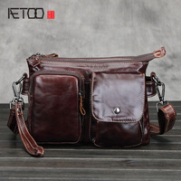 AETOOnew leather bag Men's casual vintage messenger bags 100% genuine leater crazy horse leather shoulder bags with many pockets