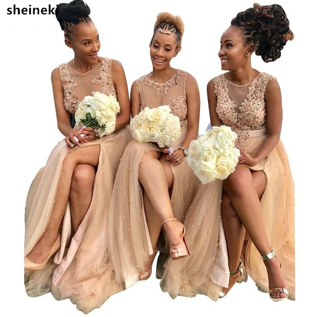 2019 African Champagne Bridesmaid Dresses Tulle Illusion Bodice Appliques Women Party Dress For Wedding Luxury Pearls Gowns Robe
