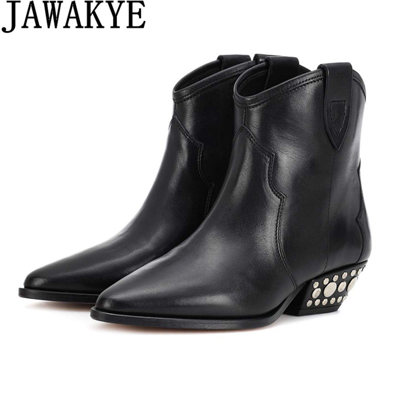 Punk style Bottes femmes rivets en métal clouté en cuir véritable Cheville Bottes bout Rond rétro bout pointu moyen talon botas mujer