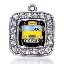 Metal alloy crystal sticker school bus driver charms pendant fit graduate bangles necklaces jewelry making souvenir gift diy(China)