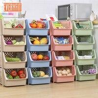 Kitchen storage basket, plastic vegetable and fruit stacked basket storage rack, storage rack, bathroom multi layer floor rack