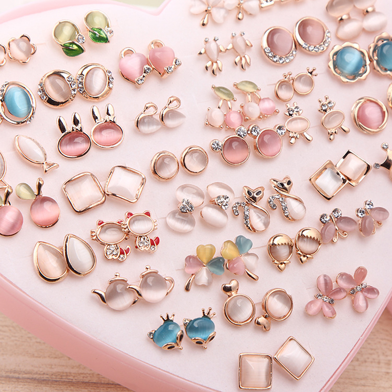 36 Pairs Rainbow Opal Stud Earring Set For Women Gold Color Butterfly/Cat/Fox/Rabbit Small Earrings Mix set Gift Box Design four color round stud earring set 4pair
