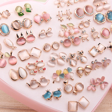 36 Pairs Rainbow Opal Stud Earring Set For Women Gold Color Butterfly/Cat/Fox/Rabbit Small Earrings Mix set Gift Box Design