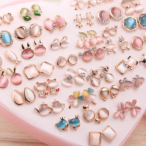 Image 1 - 36 Pairs Rainbow Opal Stud Earring Set For Women Gold Color Butterfly/Cat/Fox/Rabbit Small Earrings Mix set Gift Box Design