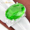 Promotion Jewelry Unique Green Quartz Crystal Silver Plated Wedding Rings Russia USA Holiday Gift Rings Australia Rings