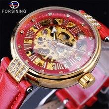 2019 Forsining Brand Golden Luxury Gift Clock Skeleton Diamond Design Red Genuine Leather Band Water