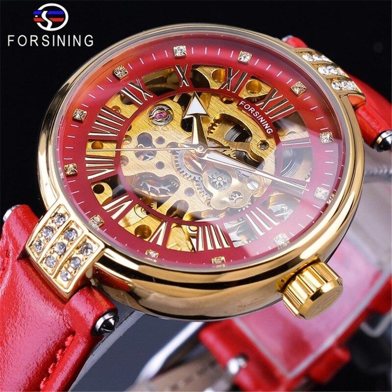Marca de Presente de Luxo Relógio de Ouro Pulseira de Couro Forsining Esqueleto Design Diamante Vermelho Genuíno Impermeável Relógio Mecânico Senhora 2019