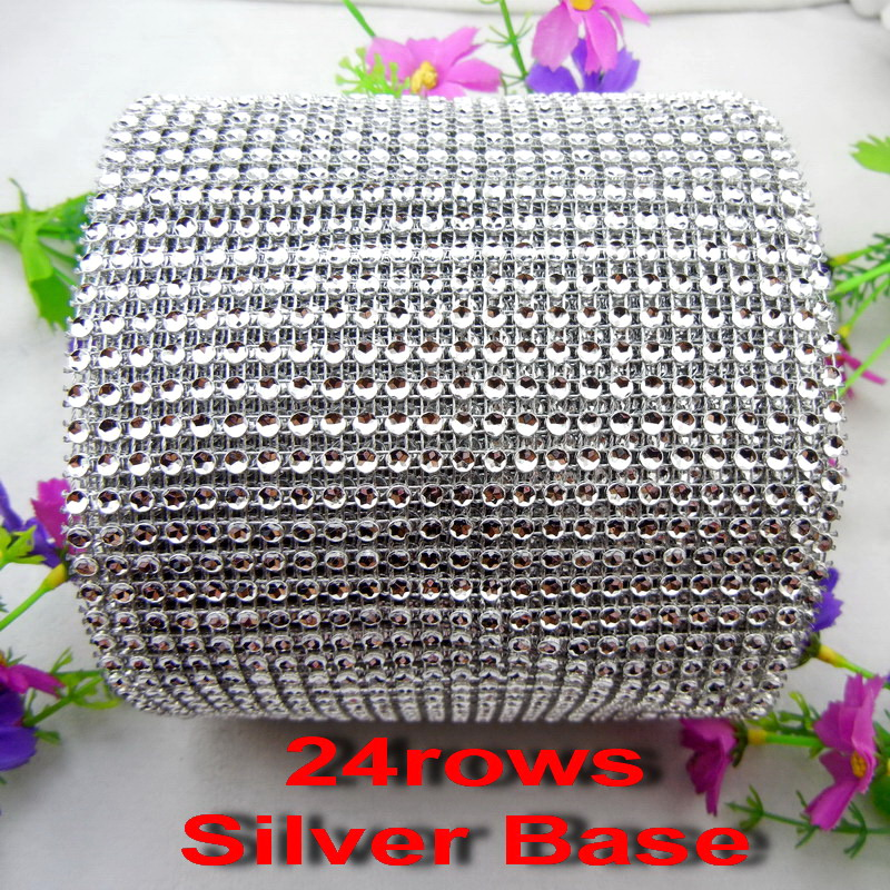 24 Rows 2yards per pack Sew On High Quality rhinestone mesh trim empty cup 4mm Silver Plastic base for wedding decoration diy
