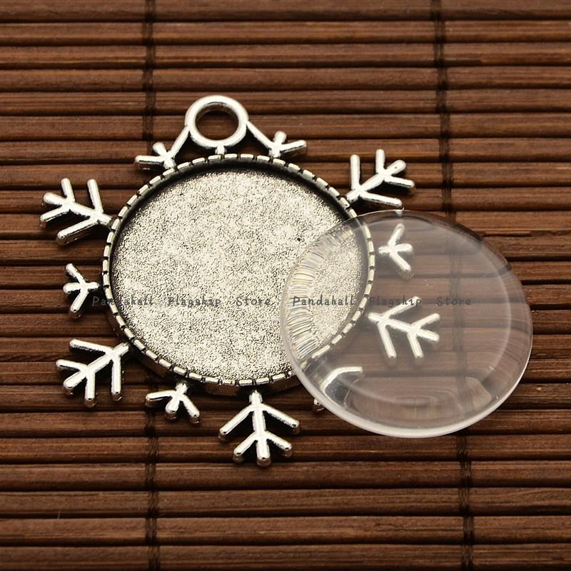 5sets Glass cameo Cabochon Settings 25x4mm Snowflake Pendant Transparent Dome Christmas DIY tray jewelry findings and components