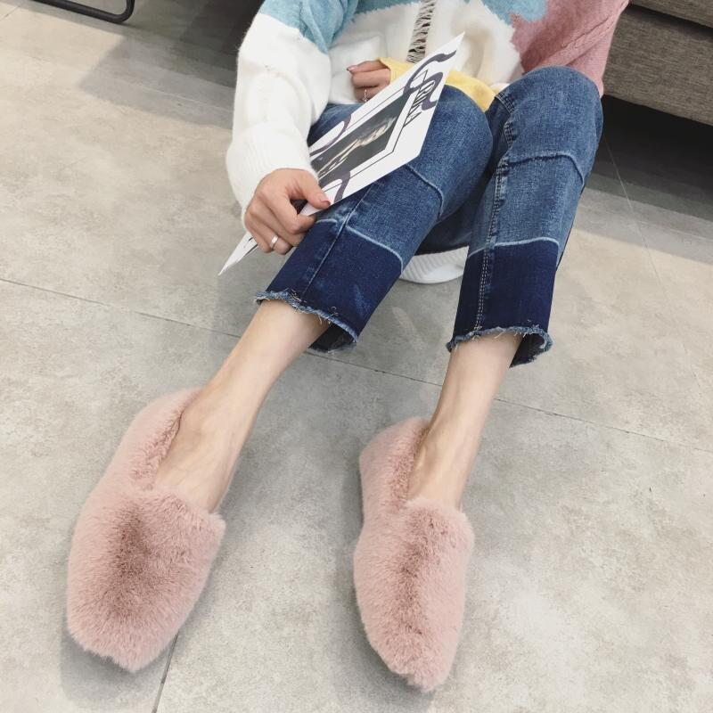 Simple Pelo Invierno 2018 Zapatos On Suave Redonda Alta Mocasines Punta Planos Profunda Caliente Molan Mujer Slip De Boca Marca Calidad Diseñador qtIz00