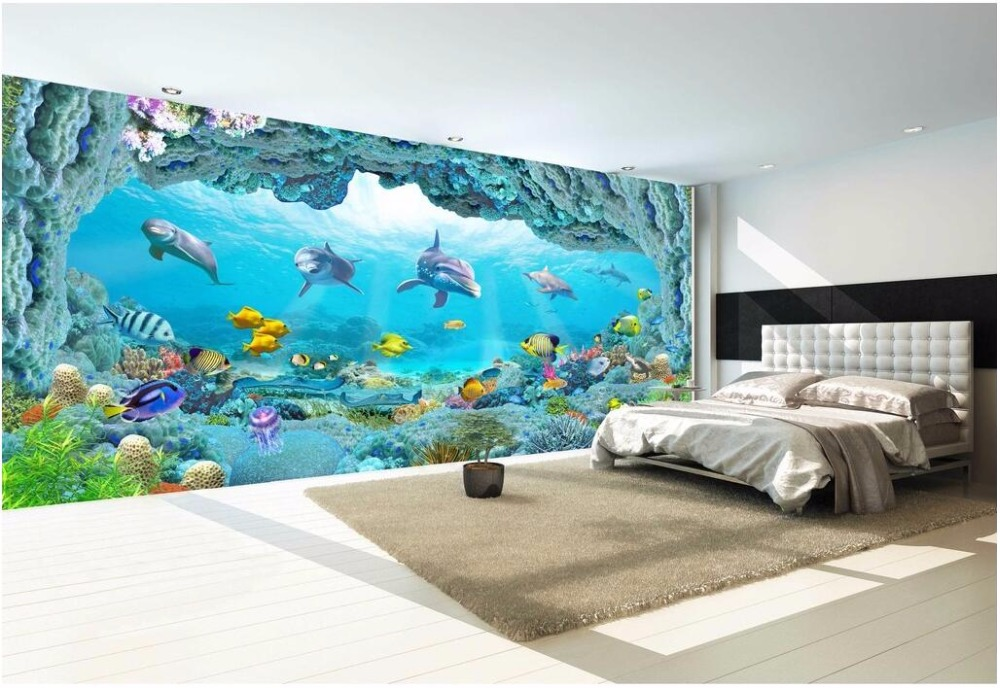 Custom photo mural 3d wallpaper picture world dolphin 3D sea aquarium decor painting 3d wall mural wallpaper for walls 3 d customize wallpaper for walls 3 d swan lake picture in picture 3d tv backdrop 3d photo wall mural 3d landscape wallpaper