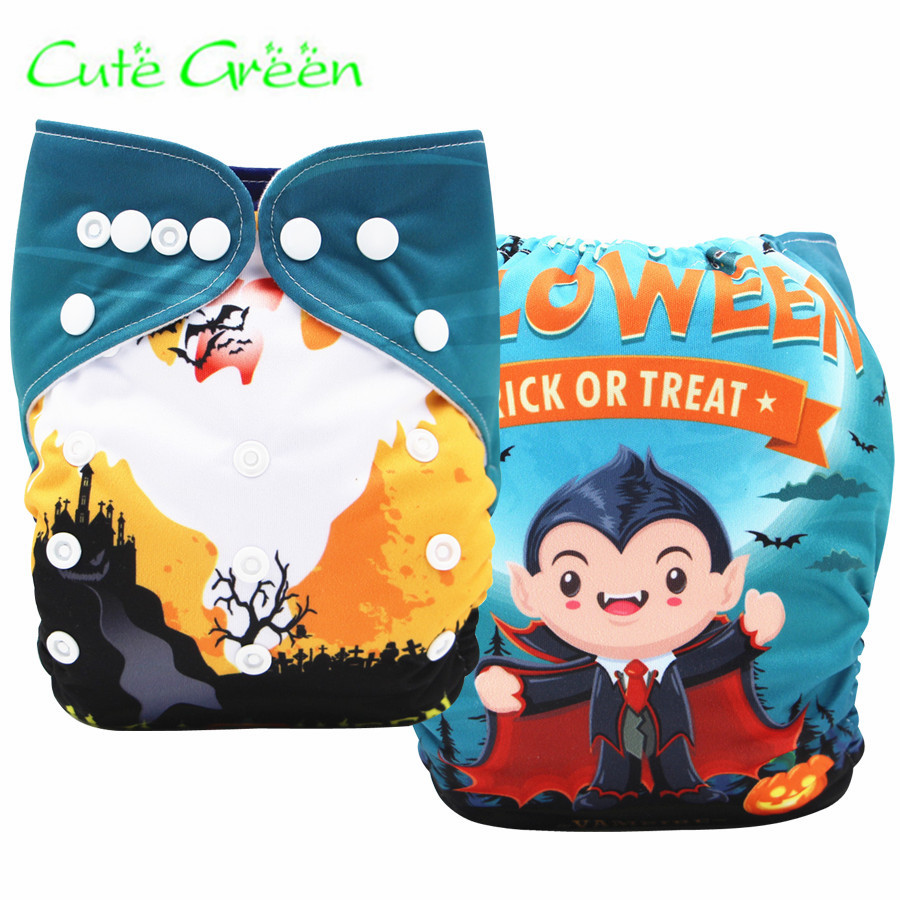 [Cute Green]OS Baby Pocket Cloth Diapers Halloween Christmas Print PUL Suede Cloth Inner With One Diaper Nappy Insert Liner
