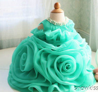 Cute Green Organza Ruffle christening frock design 1 year birthday dress Toddler Thanksgiving Baby party 1 year Christmas Dress
